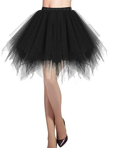 DRESSTELLS Schwarzer Tüllrock Damen 50er Rockabilly Petticoat Tutu Unterrock Kurz Ballett Tanzkleid Ballkleid Abendkleid Gelegenheit Zubehör Black L
