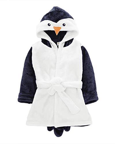 Unisexo Niños Cartoon Albornoz con Capucha Super Suave Bata Pijama Ropa Animales Pingüino 100