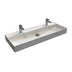 Aqua Bagno | Doble lavabo 120 en moderno diseño Loft Air | rectangular | con un desagüe | lavabo de pared | lavabo de…