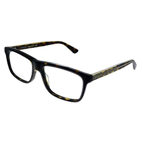 Gucci GG 0384O 002 Dark Havana - Gafas de sol cuadradas (plástico, 55 mm)