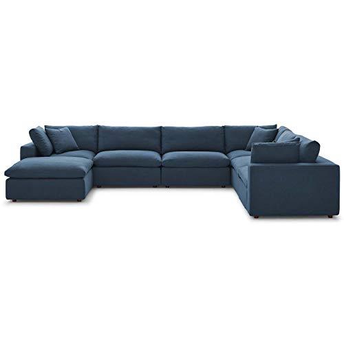 Modern Contemporary Urban Design Living Room Lounge Club Lobby Sectional Sofa Set, Fabric, Navy Blue