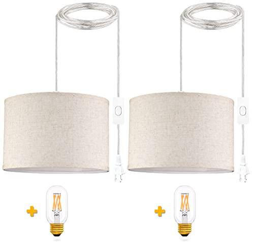 QIYIZM Plug in Pendant Light, Hanging Lights with Plug...