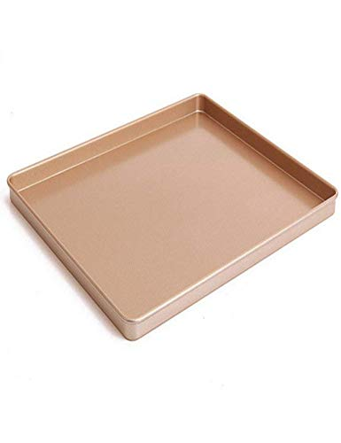12 x 10 Inch Carbon Steel Baking Pan, Momugs Nonstick Square Cookie Sheet Bakeware Roasting Tray, Champagne gold