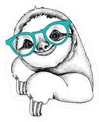 Sloth Wearing Glasses - Vinyl Sticker - Bumper Sticker Walls Laptops Trucks - Graphic Sticker