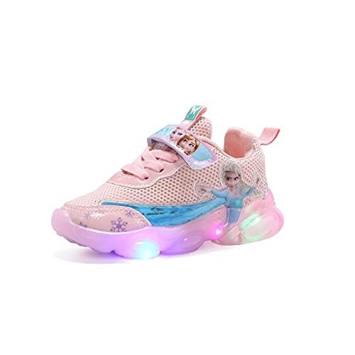 Elsa schuhe mit led mädchen Frozen Kinderschuhe Mädchen Süße Prinzessin Anna Aufdruck Sneakers für Kinder LED Licht Sohlen Sportschuhe Turnschuhe, Laufschuhe für Girls und Teenager Schulschuhe