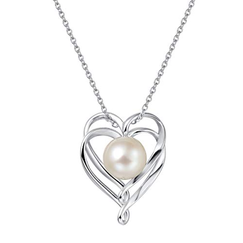 """FANCIME 9-10mm Genuine Freshwater Pearl Necklace in Sterling Silver Solitaire Single One Cultured Pearl Double Heart Necklace June Birthstone Fine Jewelry for Women Girls 16""""+2"""" Extender"""