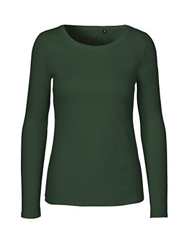 Green Cat- Damen Langarmshirt, 100% Bio-Baumwolle. Fairtrade, Oeko-Tex und Ecolabel Zertifiziert, Textilfarbe: grün, Gr. L
