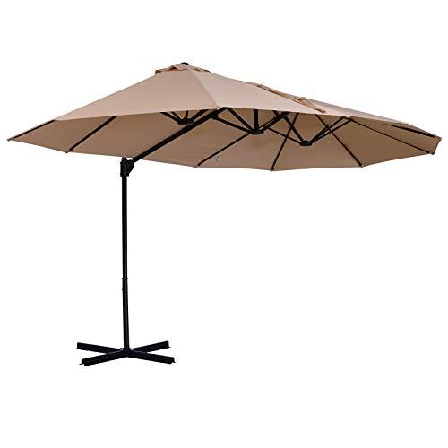 Sombrilla Doble Parasol Grande Inclinable para Jardín PatioTerraza Playa con Manivela Abrir y Cerrar Fácilmente 12 Varillas de Acero Ofrece Una Alta Estabilidad Color Beige y Negro 270x440x250cm