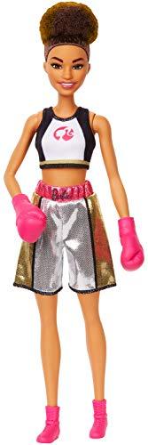 Barbie Quiero Ser Boxeadora, muñeca morena con guantes de boxeo rosa (Mattel GJL64)