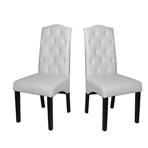 DlandHome Esszimmerstühle mit hoher Rückenlehne, für Zuhause und gewerbliche Restaurants, Weiß, 2 Stück