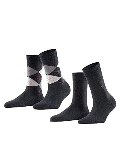 Burlington Everyday Argyle-Muster und Unifarben 2 Paar Calcetines, Gris (Anthracite Melange 3081), 4/7/2019 (Talla del Fabricante: 36-41) (Pack de 2) para Mujer