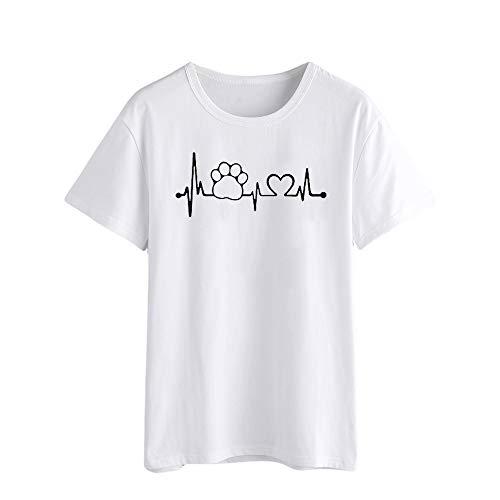 TOPKEAL Camisas Mujer Manga Corta Dibujos Animados En Forma De CorazóN El Verano Blusas Mujeres ImpresióN Tanque Tops Chaleco Camisetas (Blanco, XL)
