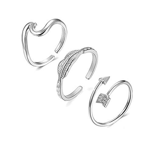 Wave Rings Arrow Ring Adjustable Rings for Women Vsco Rings Love Knot Ring V Ring Silver Gold Rose Gold Rings for Teen Girls (1-Silver Wave Leaf Arrow Infinity)