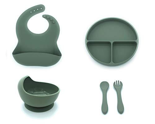 Set de vajilla de silicona para bebes. Conjunto de Babero, Cuenco, Cubiertos y Plato antideslizantes perfectos para alimentacion de bebes (Verde)