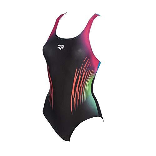 ARENA W Multicolour Webs Swim Pro Back One Piece Sport-Badeanzug für Damen, Mehrfarbig M Schwarz-Türkis