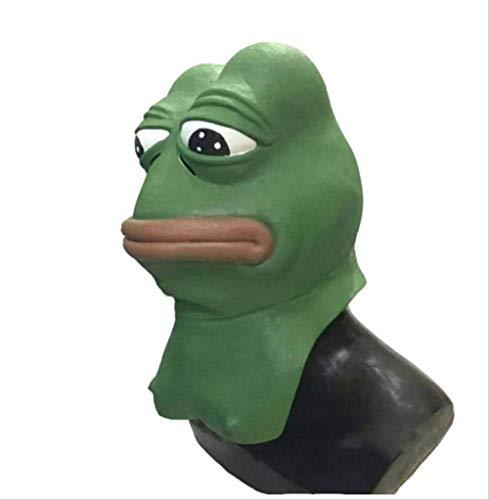 Realistische Gummi Tier Maske,Pepe Frosch Latex Maske,Comic Frosch Troll Face Meme Maske Für Halloween