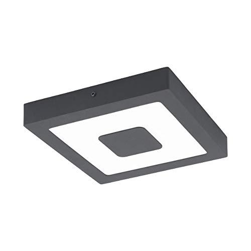 EGLO LED Außen-Deckenlampe Iphias, 1 flammige Außenleuchte für Wand und Decke, Deckenleuchte aus Aluguss und Kunststoff, Farbe: Anthrazit, weiß, IP44