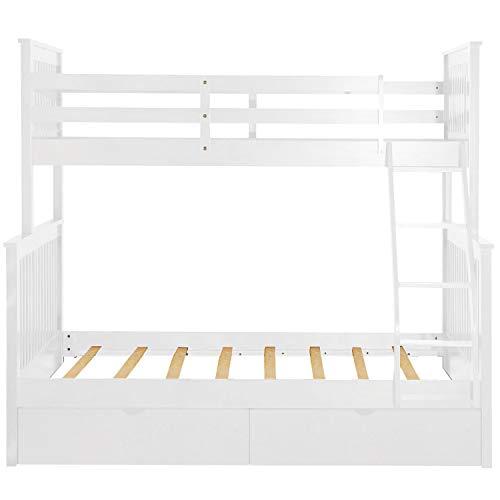 L.W.S Muebles de Dormitorio Cama con Doble litera con Doble Cama con escaleras y Dos cajones de Almacenamiento