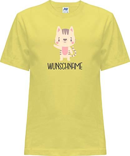 Kleckerliese Baby Kinder T-Shirt Kurzarm Sprüche Jungen Mädchen Shirt Nicki mit Motiv Tiermotiv Wunschname Name Tiere Katze Mietze Cat, LightYellow, 1 Jahr