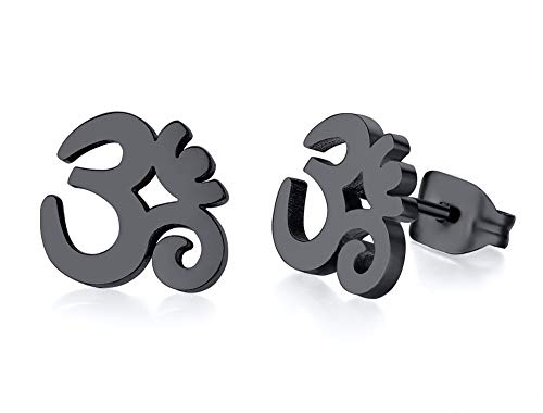 Unisex Buddha Namaste Ohm Om Aum Sanskrit Symbol Stud Earrings Stainless Steel Hindu Yoga Ear Plugs,Black