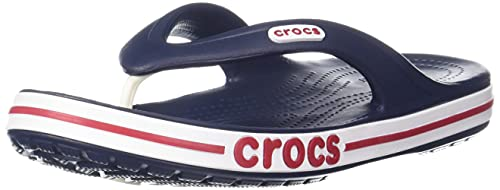 Crocs Men's and Women's Bayaband Flip Flop, Navy/Pepper, 13 US Women / 11 US Men