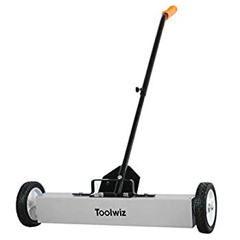 Toolwiz Magnetic Sweeper 24-inch Large Magnet Pickup Lawn Sweeper Roofing Tools Yard Magnet with Telescoping Holder and Quick Release Latch