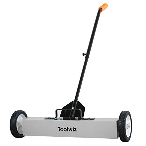 Toolwiz Magnetic Sweeper 24-inch Large Magnet Pickup Lawn Sweeper Roofing Tools, Yard Magnet with Telescoping Holder and Quick Release Latch