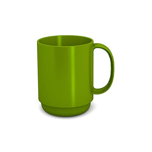 Ornamin Becher mit Henkel 300 ml grün (Modell 510) / Mehrweg-Becher Kunststoff, Kaffeebecher