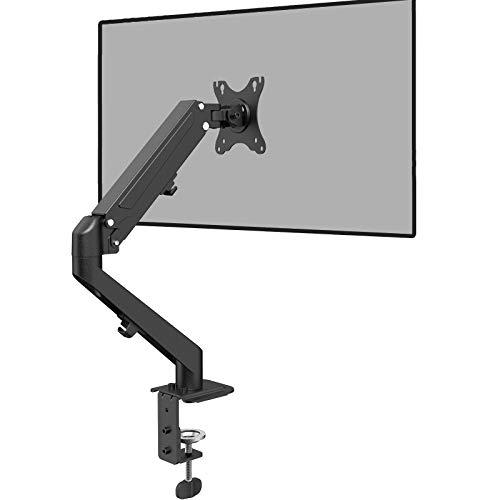 PUTORSEN® Monitor Halterung - Premium Ergonomische Gasdruckfeder Schwenkbare Neigbare Höhenverstellbar Einarm Monitorhalterung für 13 bis 27 Zoll Bildschirme - VESA 75x75 /100x100mm Wiegt 2-6,5 kg