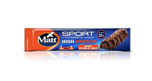 Matt Sport - High Protein Crispy Double Choc - Barrette Proteiche Croccanti al Cioccolato al Latte con Proteine del Latte e della Soia - 21 x 50 Gr