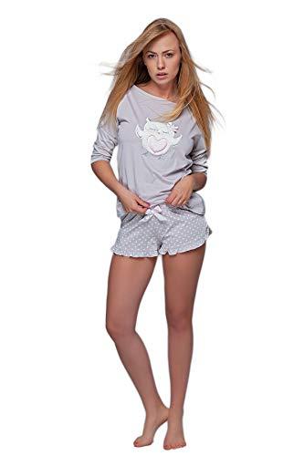 S& SENSIS charmantes Nachtwäsche-Set (Made in EU) aus angesagtem Shirt und koketten Shorts oder Langer Hose aus Baumwolle, Gr. 38, Hellgrau/Weiß mit Eule