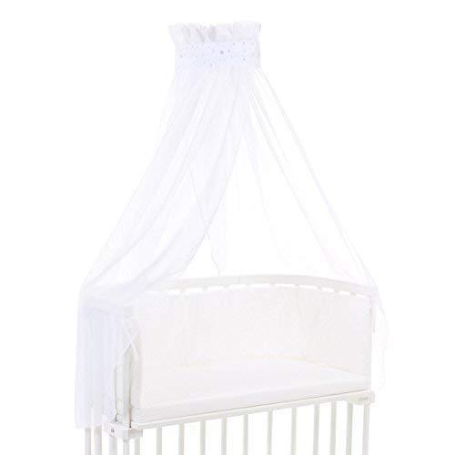 Ciel de lit babybay piqué avec ruban adapté aux modèles Original, Maxi, Boxspring, Comfort, Comfort Plus et Midi, blanc avec mélange d'étoiles sable/bleu ciel