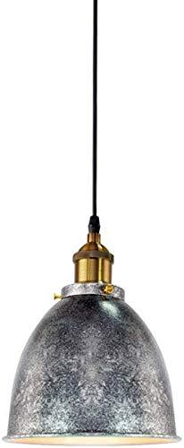 Lampara colgante techo, Péndulo lámpara 1 llama vintage plata metal lámpara colgante lámpara E27 bulbo retro comedor lámpara áspera lámpara de pie rústico lámpara de altura ajustable lámpara colgante