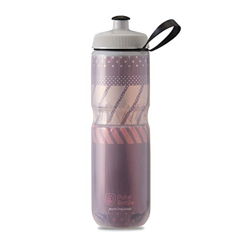 Polar Bottle Sport Insulated Water Bottle - BPA-Free, Sport & Bike Squeeze Bottle with Handle (Tempo - Burgundy & Coral, 24 oz)