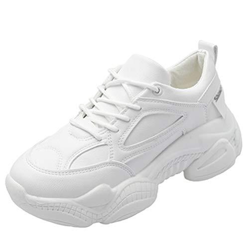 Zapatillas Zapatillas Mujer Zapatillas con Cordones Clunky Primavera Otoño Casual Caminar Plataforma Deportiva Zapatos vulcanizados