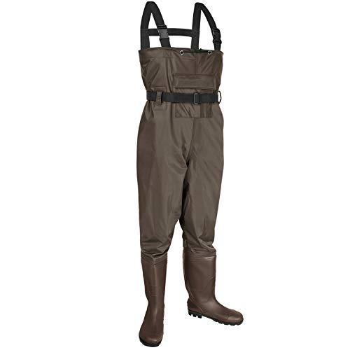 KOMEX Chest Waders,Fishing Boots Waders Hunting Bootfoot with Wading Belt Waterproof Boots Breathable Nylon and PVC Wading Boots for Men and Women