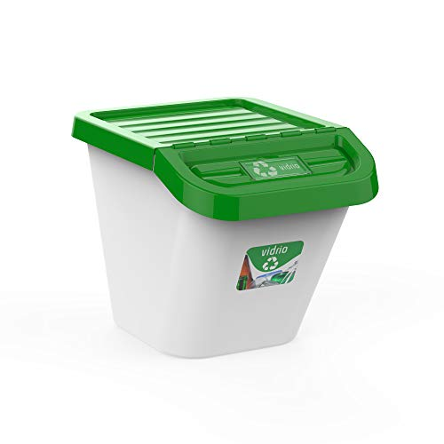 USE FAMILY-Gama Recycle. Cubos de Basura de Reciclaje para Cocina apilables. Juego de 3 contenedores 30L (verde)