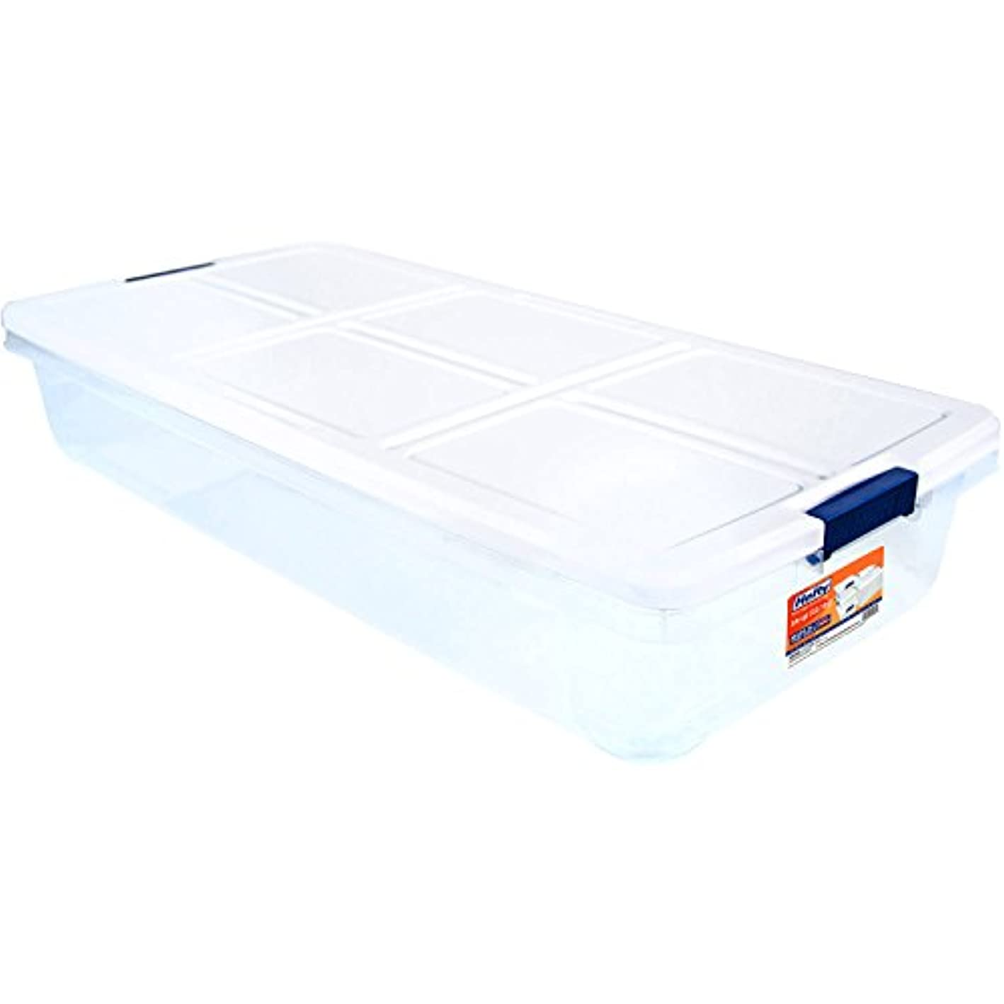 Hefty 52-Quart Latch Box for Under the Bed, White Lid and Blue Handles