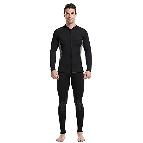 RJFYPX - Muta da uomo in neoprene da 2,5 mm, adatta per uomini di acqua fredda, immersioni, snorkeling, surf, nuoto, kayak, nero verde, S