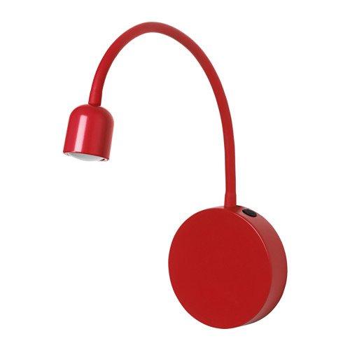 IKEA lampa ścienna LED BLAVIK w kolorze jasnoczerwonym, nadaje się do pomieszczeń wilgotnych