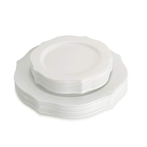 Posh Setting Juego de platos de plástico con aspecto de porcelana (incluye 4 paquetes de 20 platos, 40 platos de 25.4 cm y 40 platos de ensalada de 17.78 cm), vajilla elegante...