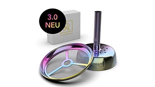 M. Rosenford Flic-Flac Premium Shisha-opzetstuk voor tabakskop, siliconen kop, keramische kop, steenkop, met regenboogeffect