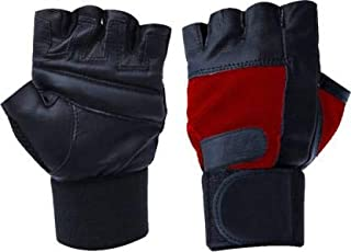 5 O' CLOCK SPORTS Leather Gym Gloves with Wrist Support Band for Weight Lifting and Exercise for Men (Red)