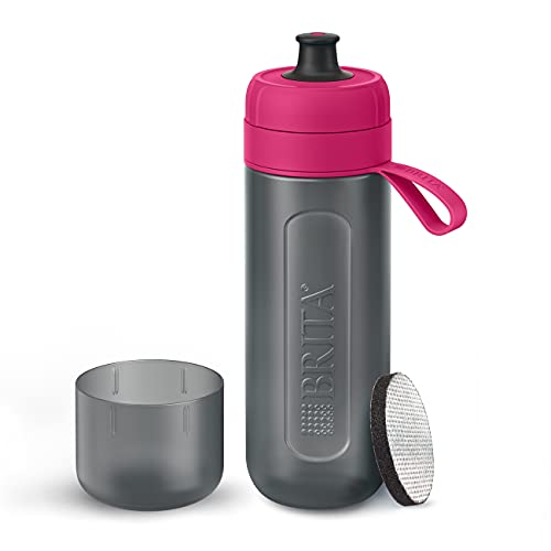 Botella filtrante BRITA Active Rosa - Filtro TecnologíaMicroDisc, Óptimo sabor para disfrutar en cualquier lugar, Botella de Agua sin BPA, 0.6 litros