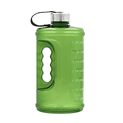 UKKD Water bottle Water Bottle With Time Marker Drink Large 73Oz Capacity Portable Kettle-Gn