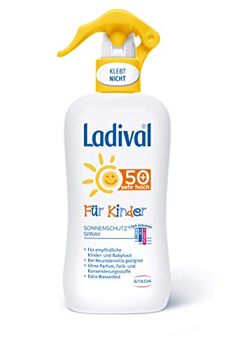 LADIVAL Kinder Sonnenschutz Spray LSF 50+ - Parfümfreies Sonnenspray für Kinder - ohne Farb- und Konservierungsstoffe - wasserfest, 200 ml