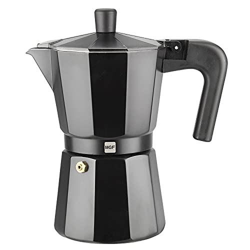 Cafetera MAGEFESA KENIA NOIR - Fabricada en aluminio esmaltado de color negro, compatible con cocinas de gas vitroceramica y eléctricas, NO APTA PARA INDUCCIÓN – Tamaño (3 Tazas)