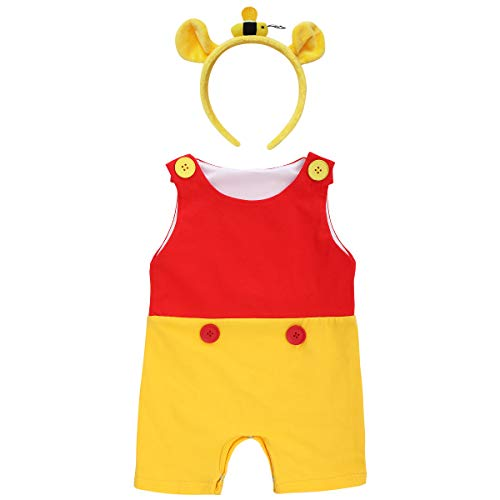 Baby Boys Pooh Bear Halloween Christmas Costume Sleeveless Romper Jumpsuit Shorts with Ears Headband Fancy Dress up First Birthday Party Cake Smash Outfit 2PCS Set Photo Prop Yellow 18-24 Months