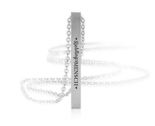 Silvity Lieblingsmensch Gravur-Halskette Gravur Motiv: Lieblingsmensch Edelstahl 50cm (Silber)