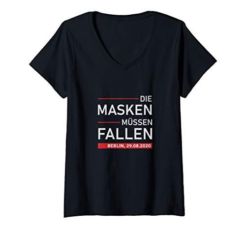 Damen Berlin 29.08. Querdenken Demo, Protest, Maskenpflicht T-Shirt mit V-Ausschnitt